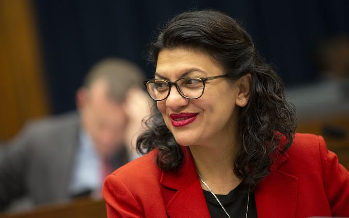 United States Representative Rashida Tlaib (Democrat of Michigan) at the House Financial Services Committee hearing on Capitol Hill in Washington D.C., U.S. on May 22, 2019.