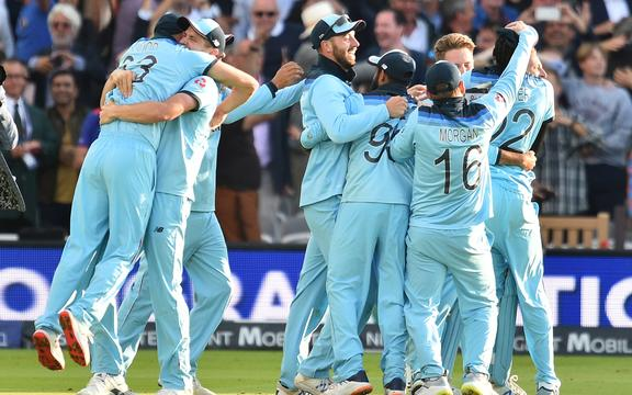 England players celebrate after winning the 2019 Cricket World Cup final between England and New Zealand at Lord's.
