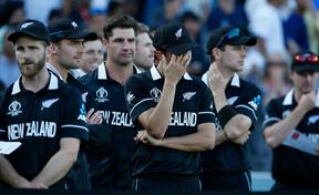 New Zealand cricketers after their loss to England in World Cup final.