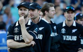 Dejected New Zealand captain Kane Williamson after the game. New Zealand Black Caps v England.