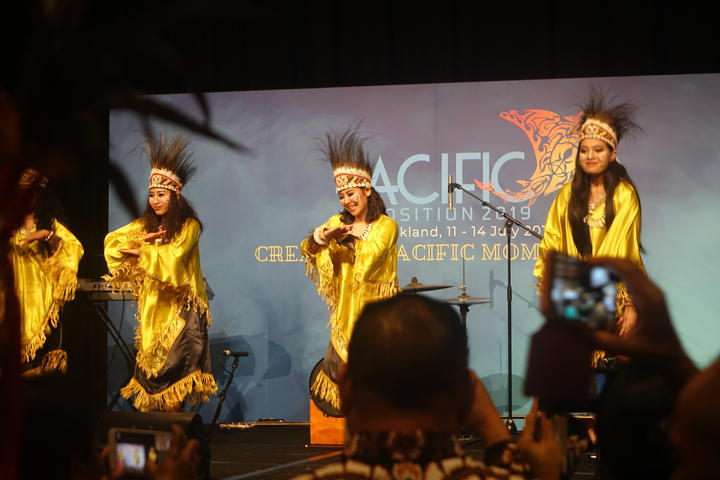 "Traditional ""Papuan"" dancers perform at the Pacific Expo in Auckland, 13 July 2019"