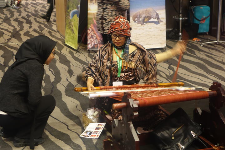 Traditional Indonesian weaving on display at the Pacific Expo in Auckland, 13 July 2019