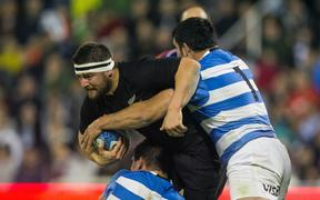 Dane Coles playing against Argentina.