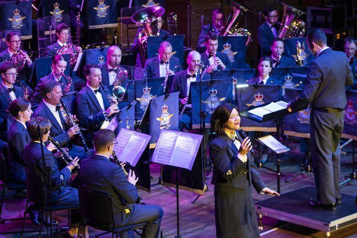 The Royal New Zealand Air Force Band in concert held at the Michael Fowler Centre with Hon. Patsy Reddy and CAF Air Vice-Marshal Andrew Clark in attendance.