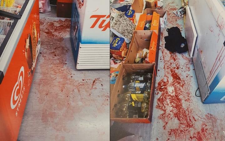 Blood on the floor after a violent robbery at a dairy in Grey Lynn.