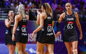 The Silver Ferns at the 2019 Netball World Cup in Liverpool.