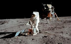 "Buzz Aldrin conducts experiments on the moon's surface in a picture taken by Neil Armstrong after both climbed down the ladder of the lunar module ""Eagle"" on July 21, 1969 to become the first men in history to set foot on the moon's surface."