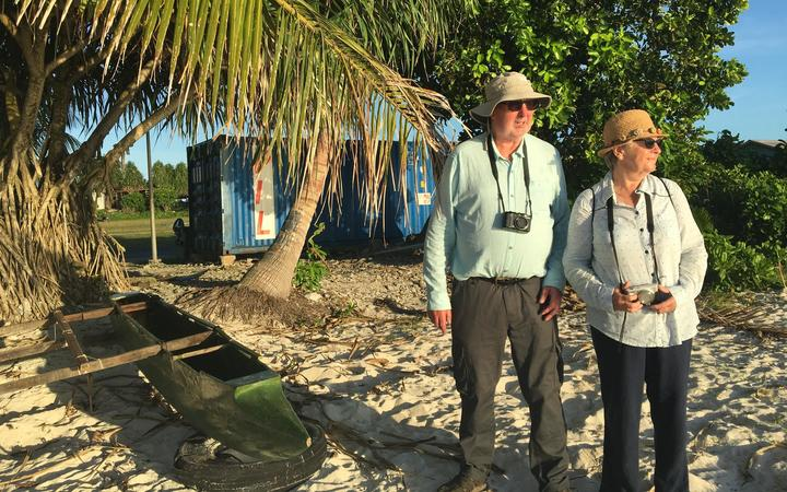Philatelist Hugh Bennet, pictured touring Tuvalu with his wife, Gwyneth, has long been interested in the remote island nation because of its notable stamps.