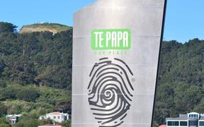WELLINGTON - AUG 22 2014:Outdoor sign of Museum of New Zealand Te Papa Tongarewa.It is the national museum and art gallery of New Zealand, located in Wellington