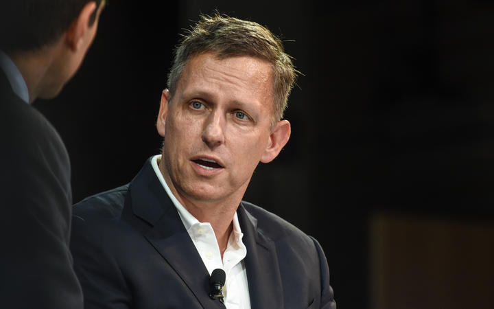 Peter Thiel speaks at the New York Times DealBook conference on 1 November 2018 in New York City.