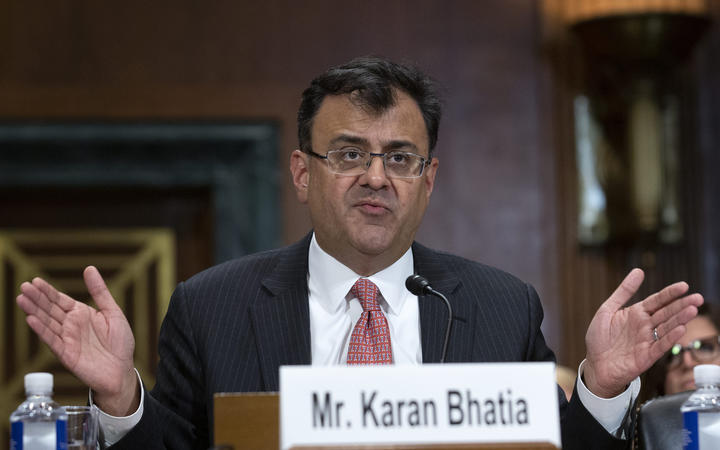 Karan Bhatia, Vice President for Government Affairs and Public Policy at Google, testifies before the Subcommittee on the Constitution on Capitol Hill in Washington D.C.