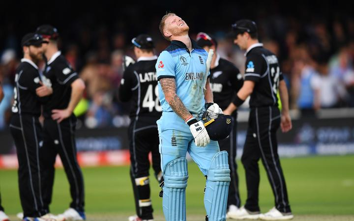 Ben Stokes shows the anguish of the scores being tied at the end of 50 overs in the final at Lord's.