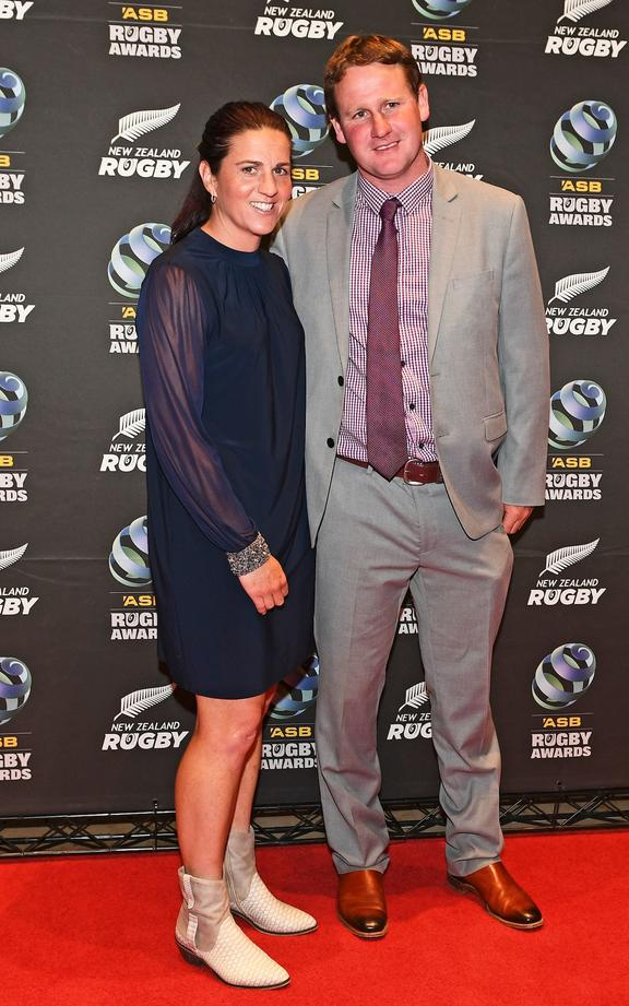 Referee Rebecca Mahoney(L) and husband.
