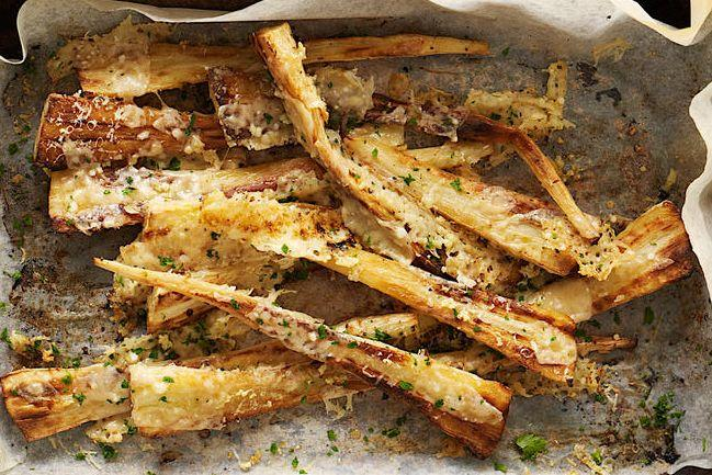 Parsnips with Crispy Parmesan & Garlic
