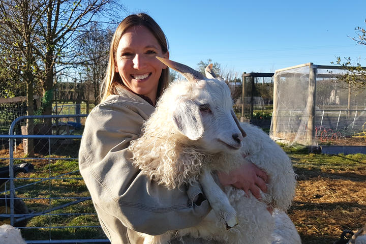 Jill Nawrocki and a Waipu goat
