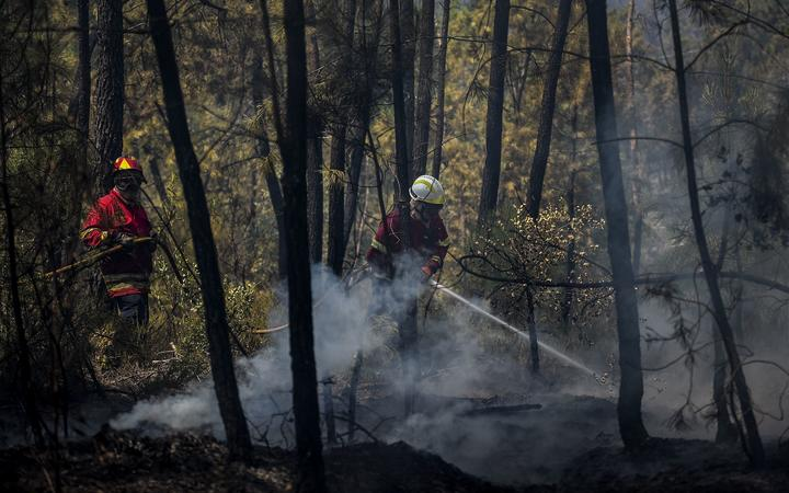 A firefighter tackles a wildfire near a house in Sarnadas, Macao, in central Portugal on July 21, 2019.