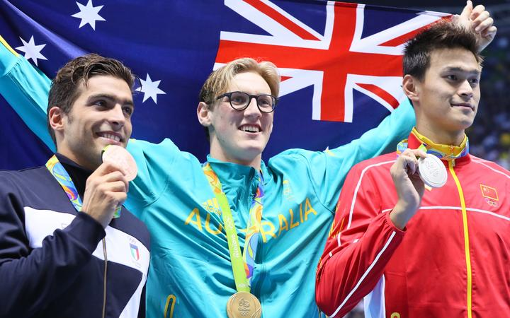 Mack Horton (middle) Sun Yang (China right) and Italy's Detti Gabriele (left) on the podium at the Rio Olympics 2016.