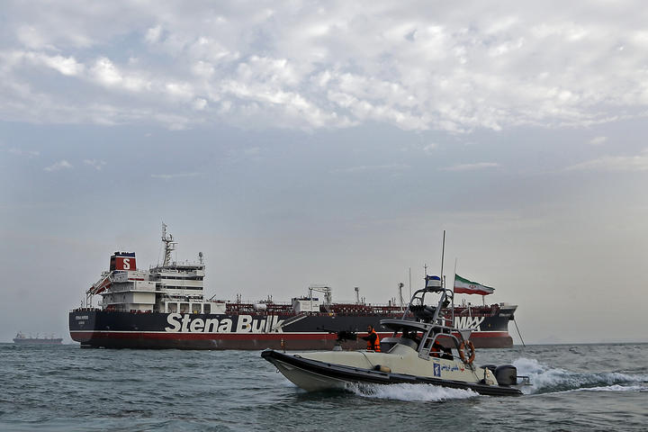 Iranian Revolutionary Guards patrolling around the British-flagged tanker Stena Impero as it's anchored off the Iranian port city of Bandar Abbas.