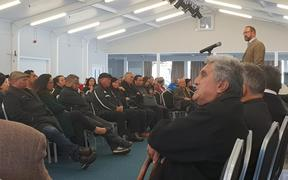 Ngāpuhi people turned up at Waitangi for a meeting with Treaty Negotiations Minister Andrew Little.