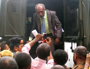 The President of the so-called Federal Republic of West Papua, Forkorus Yaboisembut, during his trial
