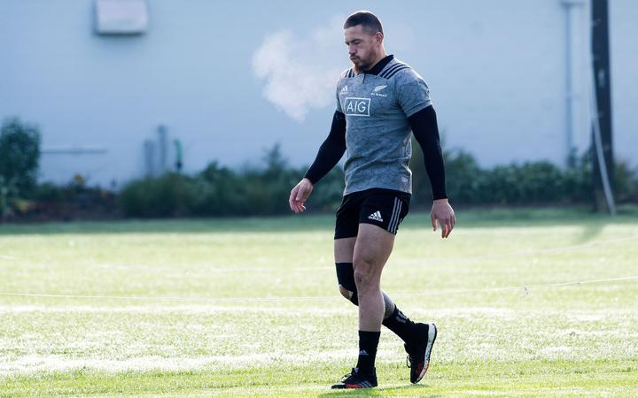 All Black Sonny Bill Williams warms up during an All Blacks training session at the Hutt Rec grounds in Lower Hutt.