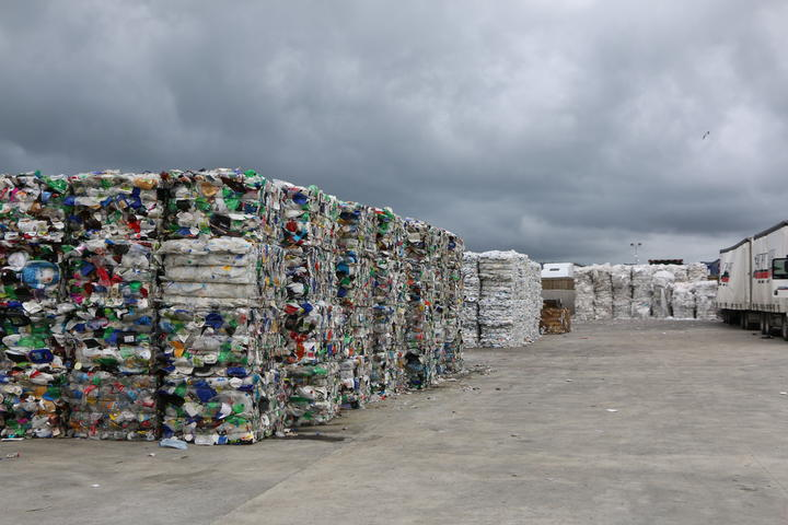 Sorted plastic at the Oji depot, bailed and ready to ship.