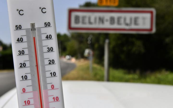 A thermometer placed in the village of Belin-Béliet, south western France, shows the temperature on July 23, 2019.