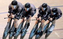 New Zealand men's track pursuit cycle team in action in 2014.