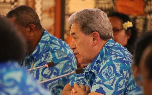 New Zealand's foreign minister Winston Peters speaks at the Pacific Islands Forum foreign ministers meeting in Suva, Fiji on Friday.