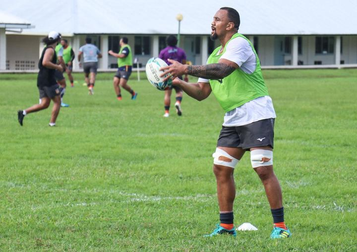 Nasi Manu training with the Tongan team earlier in the week