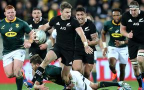 All Blacks Beauden Barrett during the Rugby Championship match between the New Zealand All Blacks & South Africa at Westpac Stadium, Wellington on Saturday 27th July 2019.
