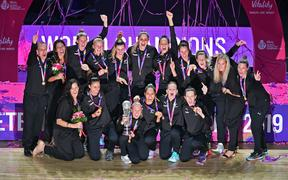 The Silver Ferns celebrate winning the 2019 Netball World Cup in Liverpool.