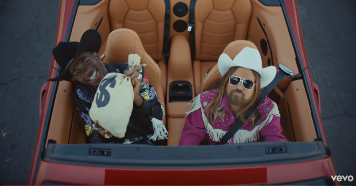Lil Nas X and Billy Ray Cyrus in the video for 'Old Town Road'.