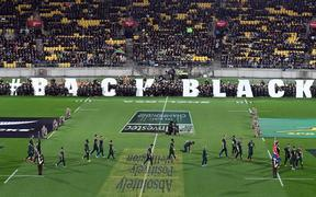Back the Black campaign during the 2019 Investec Rugby Championship game between All Blacks vs South Africa.