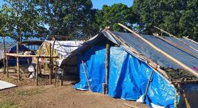 Temporary shelters at Bakada care centre for people displaced by the Mt Ulawun volcano