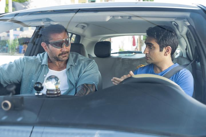 Dave Bautista as Vic and Kumail Nanjiani as Stu in Stuber.