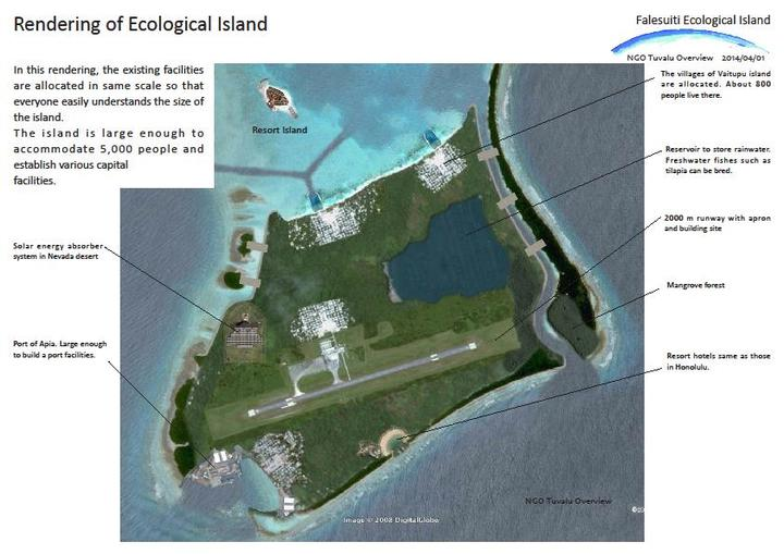 Impression of plan for new island to help Tuvalu cope with climate change