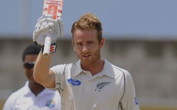 The New Zealand batsman Kane Williamson celebrates his century during day four of the Third and Final Test West Indies v New Zealand at Kensington Oval, Barbados, 2014.