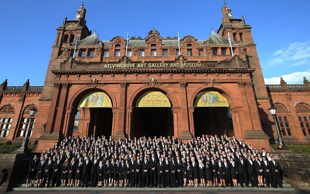 Team New Zealand pose for a team photo for the 2014 Commonwealth Games, outside the Kelvingrove Art Gallery and Museum, Glasgow, Scotland.