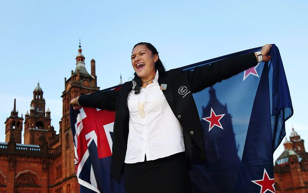 Valerie Adams, the New Zealand Flag Bearer for the 2014 Glasgow Commonwealth Games.