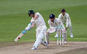 Steve Smith bats during his century in the 1st Ashes Test Match