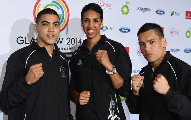 New Zealand Commonwealth Games boxers Leroy Hindley, Alexis Pritchard and Chad Milnes.