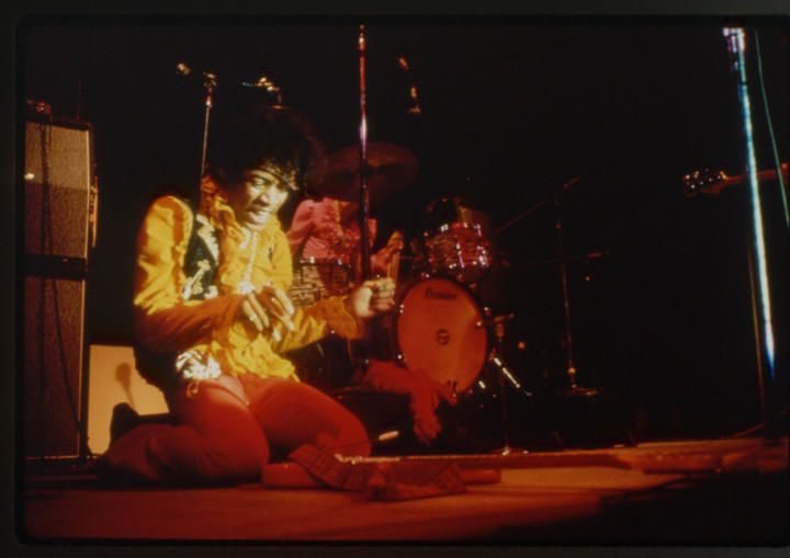 Jimi Hendrix in a shot from Monterey Pop.