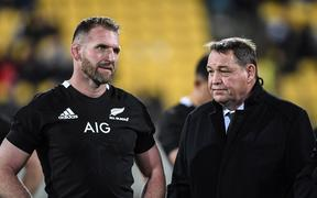 All Blacks captain Kieran Read and All Blacks coach Steve Hansen following the 16-16 draw with South Africa in Wellington on 27 July 2019