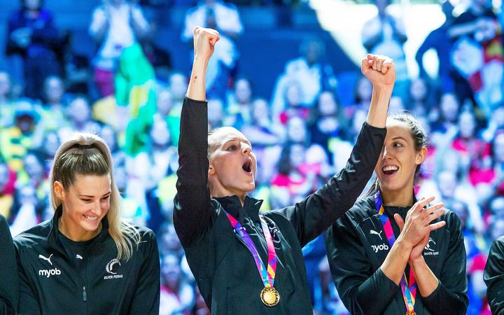 Katrina Rore celebrating gold at the 2019 Netball World Cup in Liverpool