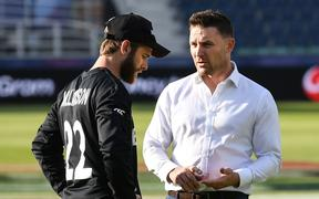 Kane Williamson talks to Brendon McCullum.