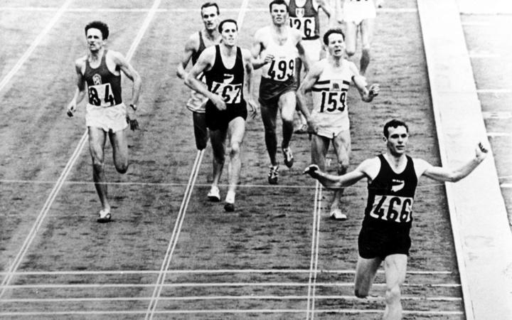 Peter Snell wins the mens 1500m to claim the gold with John Davies claiming Bronze. Tokyo Olympic games, 1964.