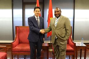 Papua New Guinea's prime minister James Marape meeting with China's Ambassador, Xue Bing, in Port Moresby. 6 August, 2019