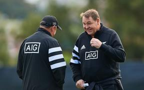 All Blacks coaches Ian Foster and Steve Hansen.