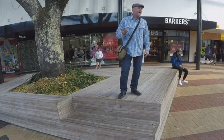 Street preacher Grant Edwards at the Cameron Street Mall.